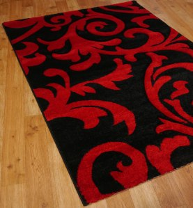 Black and Red scroll rug