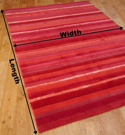 The length and width of a rug